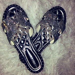 Women's rhinestone flat sandals